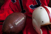 A group of vintage American football equipment — Stock Photo