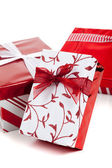 Red and white wrapped Christmas presents — Stock Photo