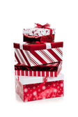 Stack of red and white wrapped Christmas presents — Stock Photo