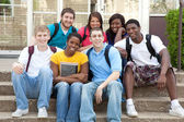 Multicultural College Students outside on campus — Stock Photo