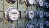 Row of electric meters — Stock Photo