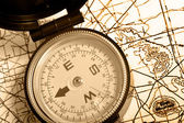 Compass on a map Duotone — Stock Photo