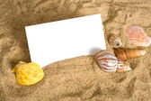 Notecard on Beach — Stock Photo