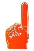 Orange Foam Spirit finger keepsake on a white background — Stock Photo