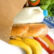 Bag of Groceries on WHite — Stock Photo