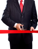 Cutting Red Ribbon — Stock Photo