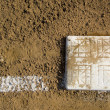 Empty base on baseball field - Stock Photo