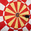 Dart in Bullseye on Dartboard - Stockfoto