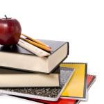 School Books with Apple — Stock Photo
