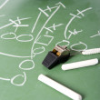 Football Play on Chalkboard — Stock Photo
