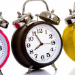 Stockfoto: Colorful Clocks on White