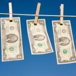 Two Dollar Bills on Clothesline — Stock Photo