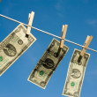 Two Dollar Bills on Clothesline — Stock Photo