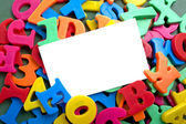 Notecard with Alphabet Letters — Stock Photo