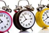 Colorful Clocks on White — Stock Photo