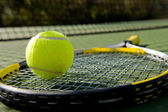 Tennis Racket and Ball on Court — Foto Stock