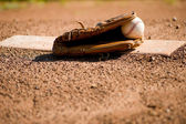 Baseball Glove and Ball on Pitcher's Mound — Stock Photo