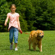 Young Girl with Dog - Stock Photo