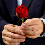 Man giving rose — Stock Photo