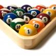 Pool balls in Rack — Stock Photo