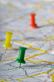 Pushpin on Map — Stock Photo