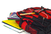 Backpack with supplies — Stock Photo