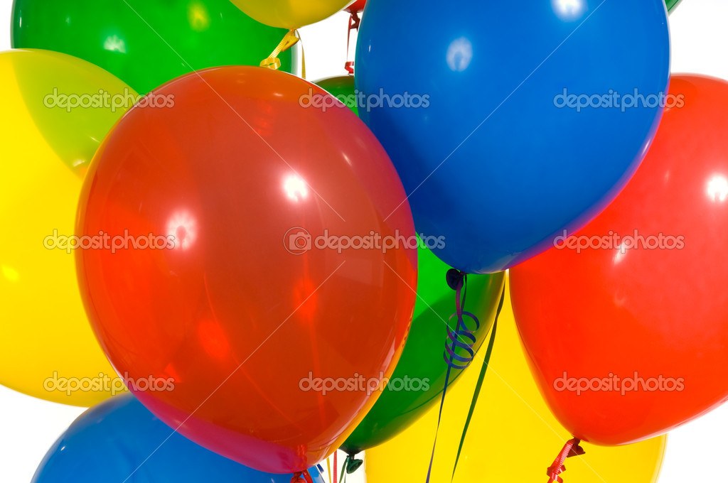 Primary color party balloons for a background  Stock Photo #13929420