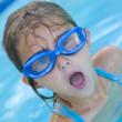 Little Girl taking Big breath in swimming pool — Stock Photo #13930252