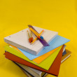 School Supplies on yellow background — Stock Photo #13930259