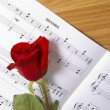Sheet Music with Rose — Stock Photo
