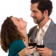 Stock Photo: Happy Young Couple - enjoying glass of wine