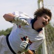 Soccer Football Goal Keeper straining for Save — Stockfoto