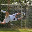 Soccer Football Goal Keeper making Save - Stok fotoğraf