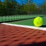 Tennis balls on Court — Stock Photo