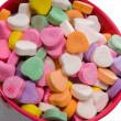 Stock Photo: Bucket of Candy Valentine's Hearts - Close-up