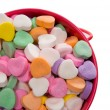Bucket of Candy Valentine's Hearts - Close-up — Stock Photo