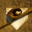Vintage baseball on base — Stock Photo