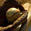 Vintage baseball on base — Stock Photo #13932005