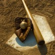 Vintage baseball on base — Stock Photo #13932013