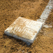 Empty base on baseball field — Stock Photo