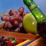 Picnic Basket with Fruit — Stock Photo