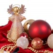 Christmas Ornaments with angel tree topper - Stock Photo