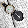 Compass on Bible - Stok fotoraf