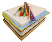 Schoolbenodigdheden op wit met pad — Stockfoto