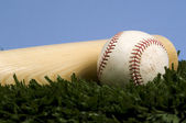 Baseball on Grass with bat against blue sky — Stock Photo