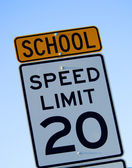 School Speed Limit sign — Stock Photo