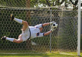 Soccer Football Goal Keeper making Save — Stock Photo