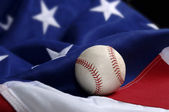 Baseball on American Flag — Stock Photo