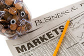 Investments Opportunity - Newspapers open to business related pa — Stock Photo