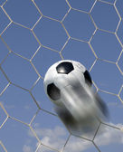 Soccer - football in Goal — Foto de Stock